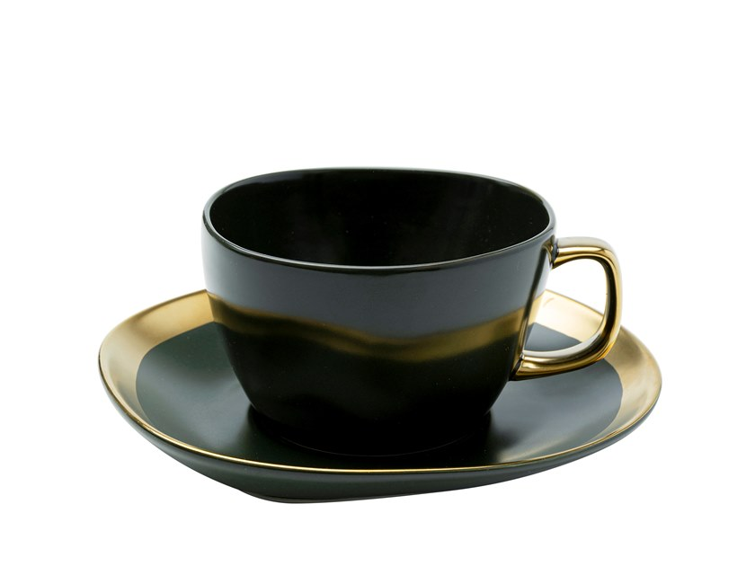 Tazza da caffè in ceramica con piattino VIBRATIONS | Tazza con piattino by KARE Design