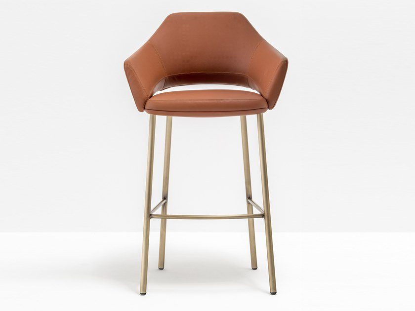 High leather stool with armrests with back VIC 648 by PEDRALI