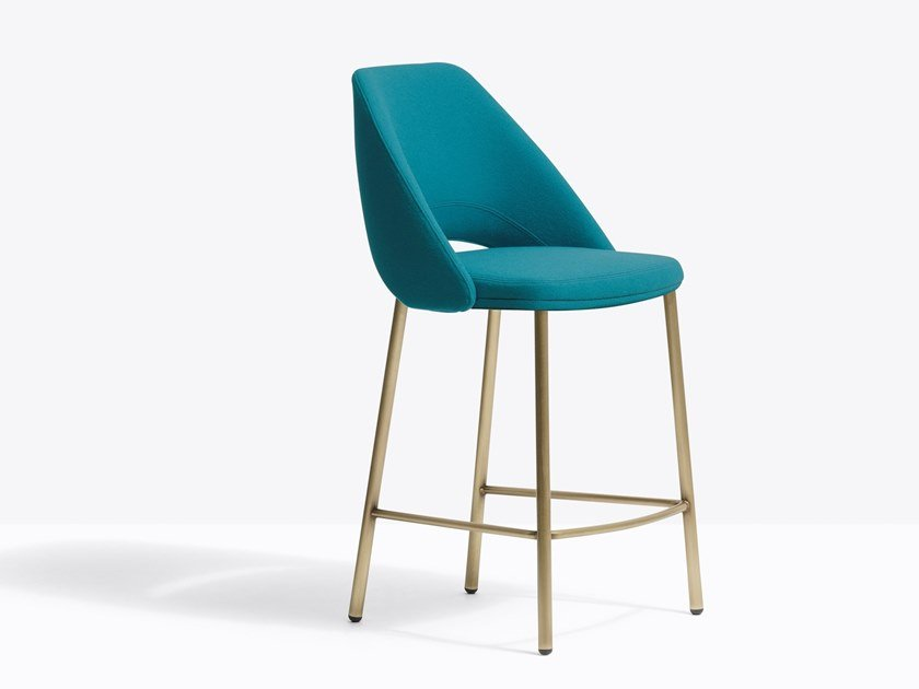 Upholstered fabric stool with footrest VIC 659 by PEDRALI