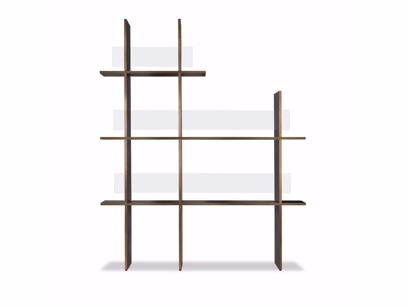 Freestanding glass and aluminium bookcase VICEVERSA by BAXTER