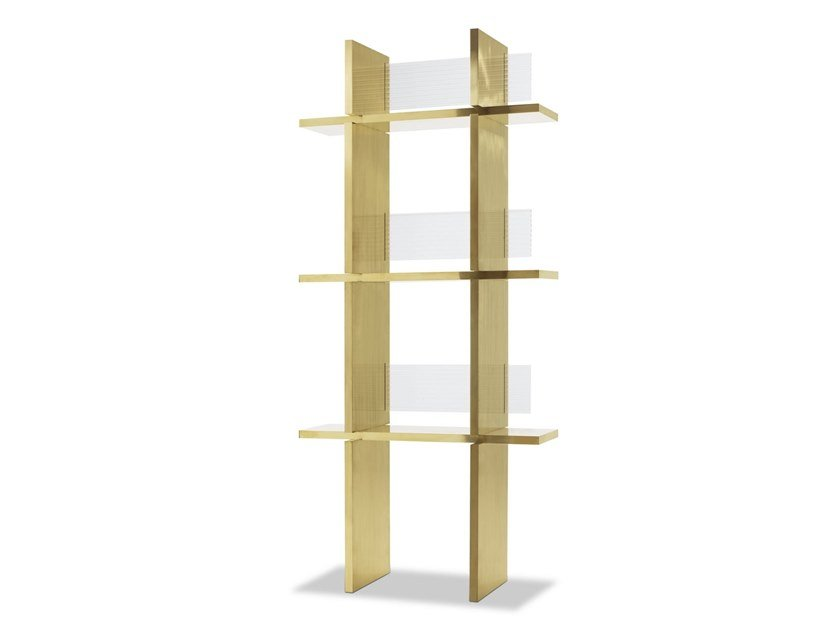Open shelving unit VICEVERSA | Brass bookcase by BAXTER
