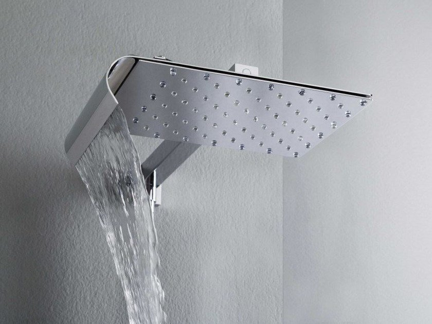 Wall-mounted brass overhead shower with anti-lime system VICEVERSA by tender rain
