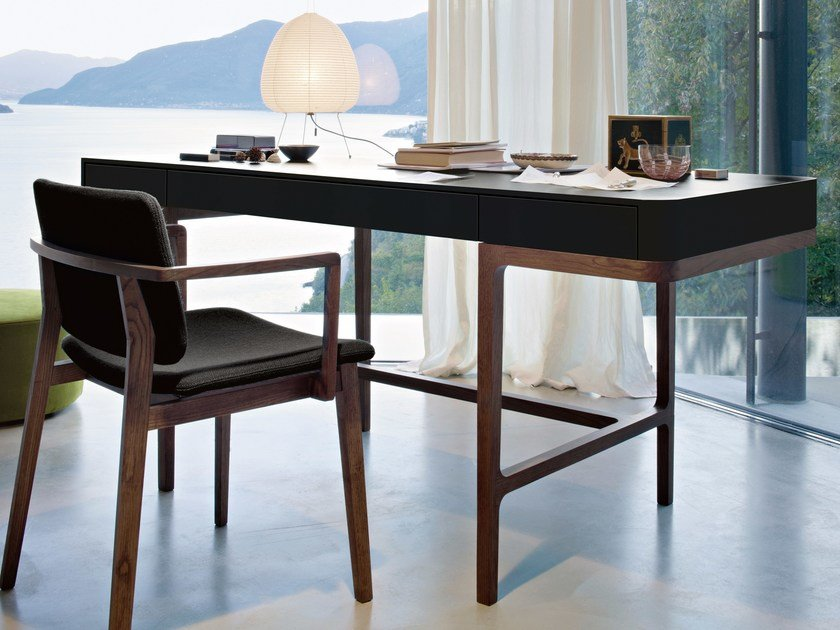 Solid wood writing desk with drawers VICTOR by Lema