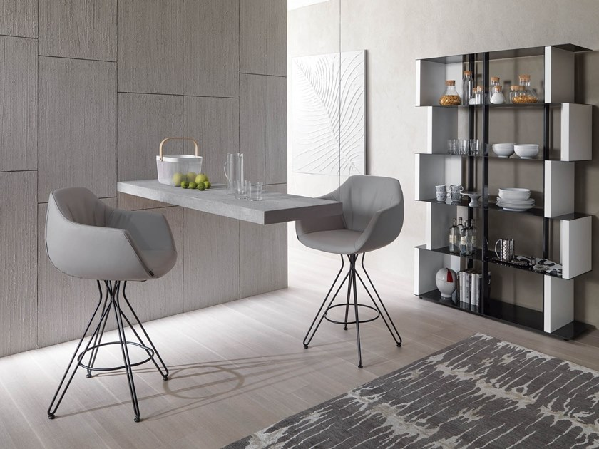 High upholstered leather stool VICTOR by Ozzio Italia