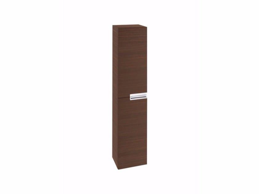 Tall wooden bathroom cabinet with doors VICTORIA-N | Tall bathroom cabinet by ROCA SANITARIO
