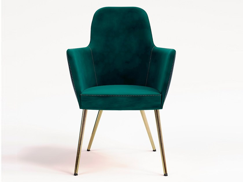 Upholstered velvet easy chair with armrests VIENNA by Emotional Projects