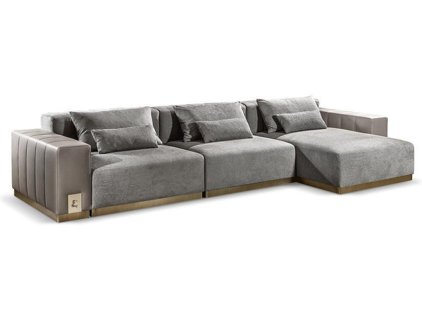 Sectional leather sofa with chaise longue VIETRI by Cantori