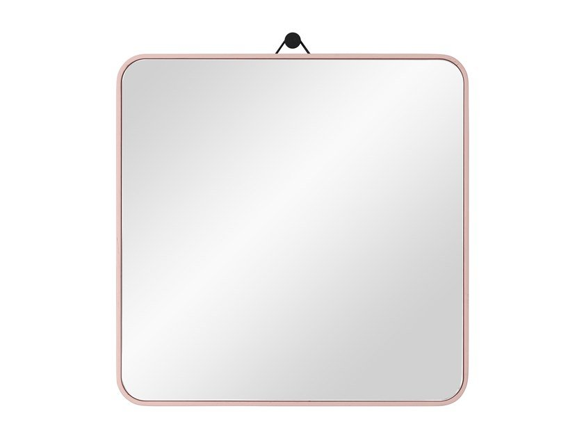 Square wall-mounted framed oak mirror VIEW | Square mirror by Schönbuch