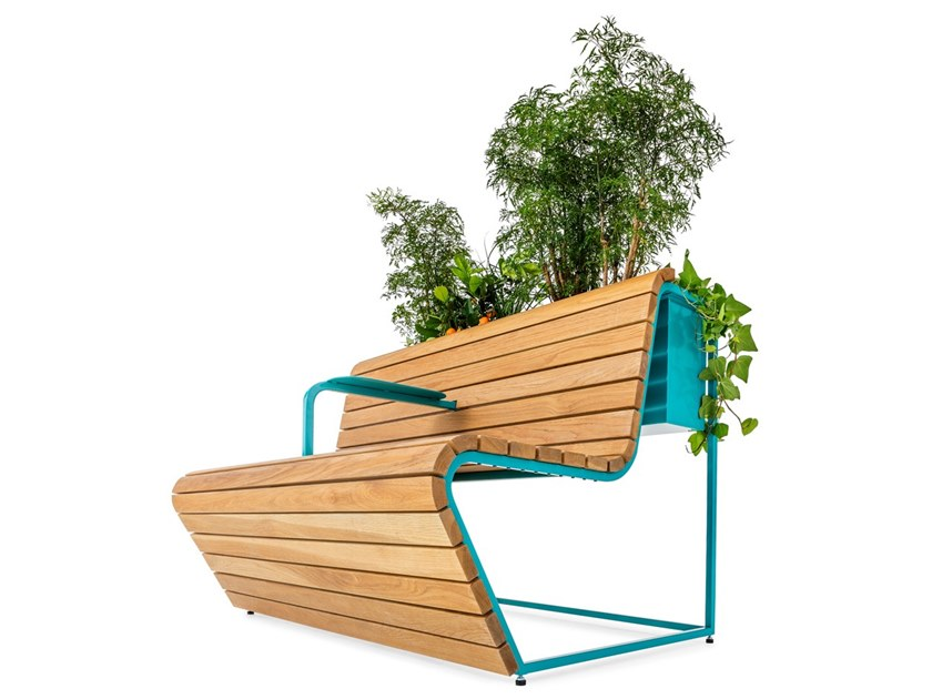 Oak Bench with Integrated Planter VILDING   Bench by Nola Industrier