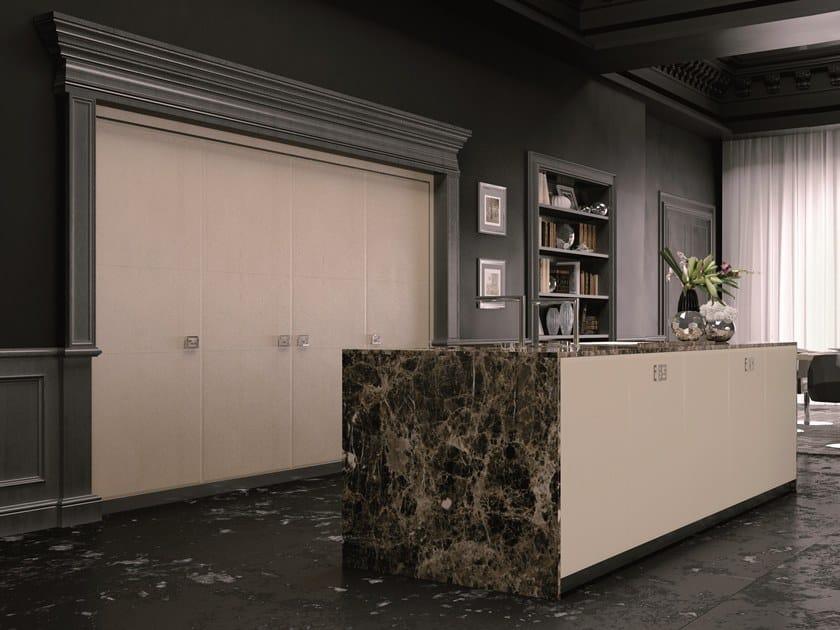 Leather fitted kitchen with island VILLA DOMIZIA by FENDI CUCINE