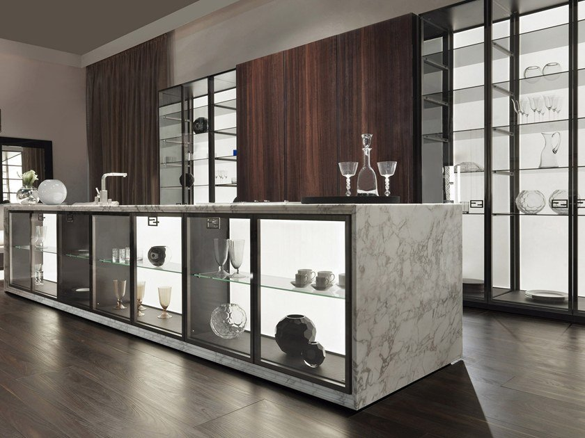 & Custom wood and glass kitchen with island VILLA LIVIA By FENDI CUCINE