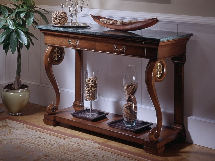 Rectangular walnut and marble console table with drawers VILLA MASER | Console table by MOLETTA