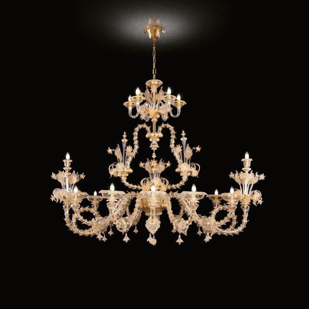 Classic style handmade glass chandelier VILLA MEDICI   Venetian style chandelier by MULTIFORME