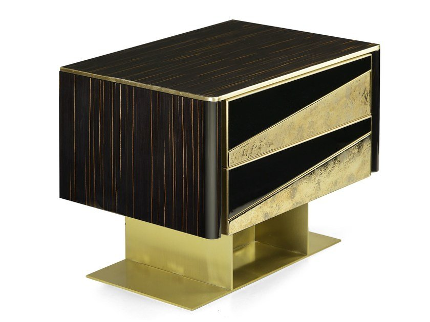 Lacquered rectangular bedside table with drawers VINCENT | Bedside table by MARIONI
