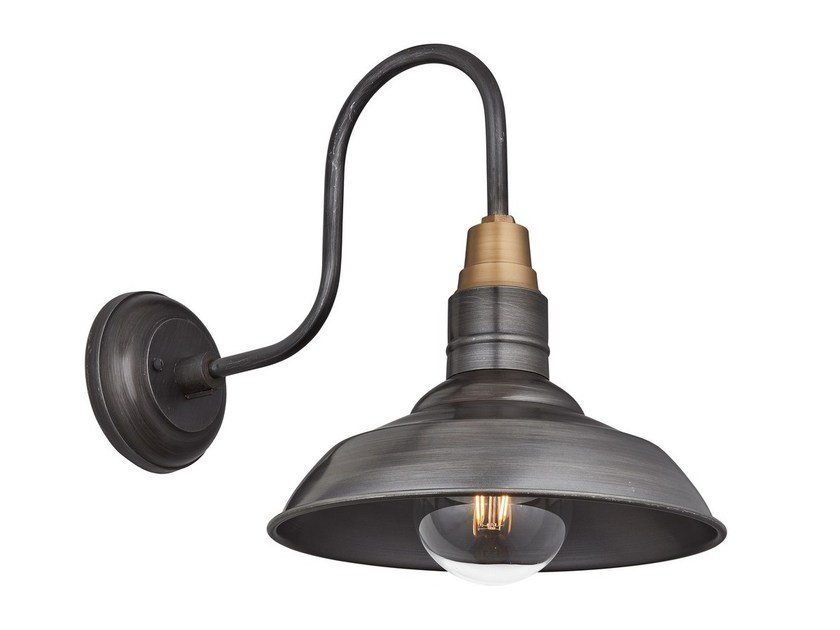 Iron wall lamp VINTAGE ROUND SHAPED BARN SWAN NECK by Industville