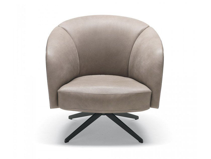 Swivel leather armchair VIOLETTA | Leather armchair by MisuraEmme