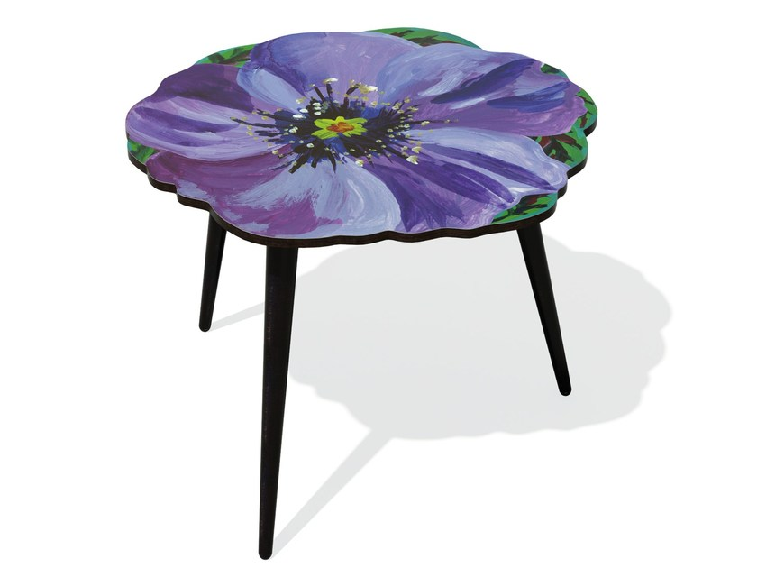 Beech wood and HPL side table VIOLETTE L by Bazartherapy