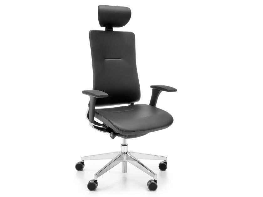 Height-adjustable leather executive chair with 5-spoke base VIOLLE 131SFL by profim