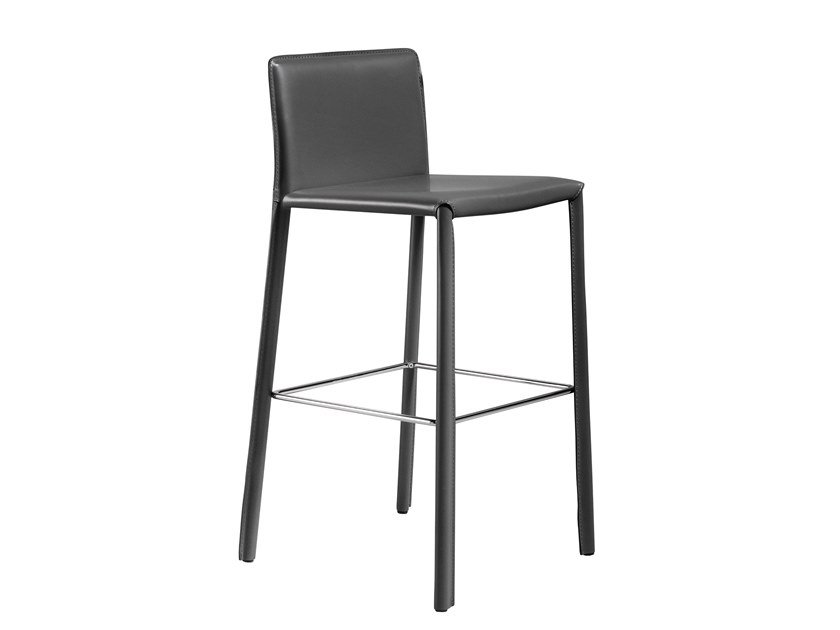 High leather stool with footrest VIRGINIA | Stool by AP Factor