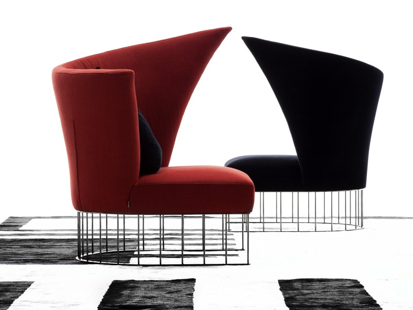 Upholstered fabric armchair VIRGOLA by ERBA ITALIA