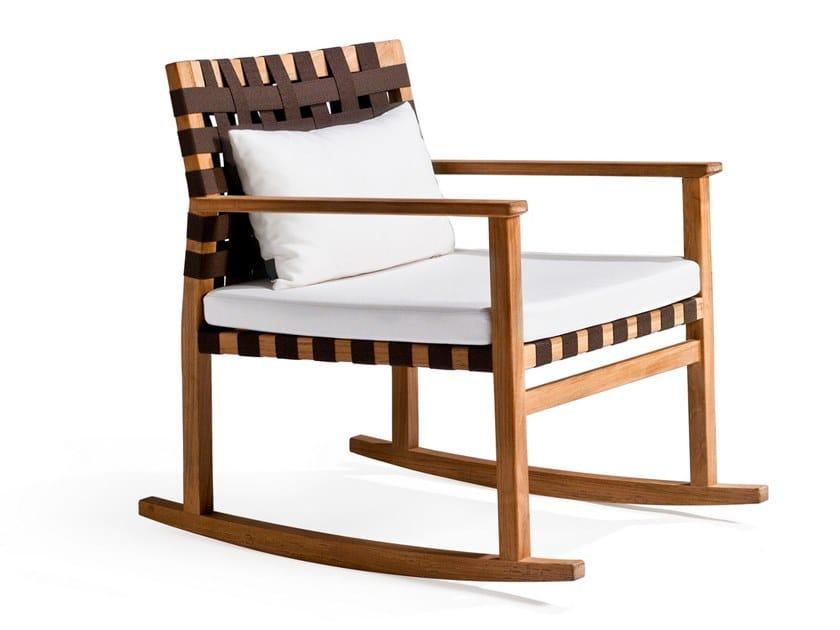Rocking teak easy chair VIS À VIS | Rocking easy chair by TRIBÙ