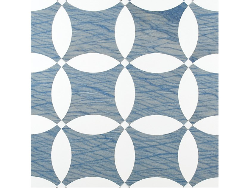 Azul Macaubas and painted oakwall/floor tiles VISIONI AZUL by Palazzo Morelli