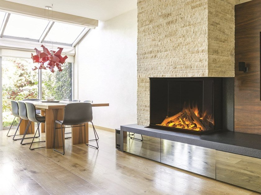 Double-sided electric built-in glass fireplace VISTA GF2 800 by BRITISH FIRES