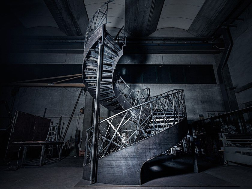 Self supporting helical iron Spiral staircase VISTA PROJECT PRODUCTION by Officine Sandrini