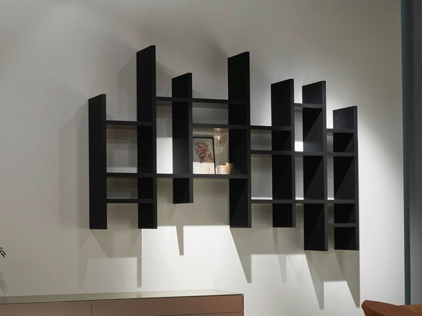 Wall-mounted lacquered floating wooden bookcase VITA | Floating bookcase by Kettnaker