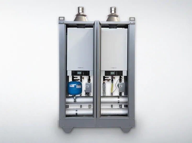 Outdoor metal condensation boiler VITOMODUL 200-E by VIESSMANN