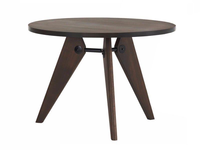 Oak table VITRA - GUÉRIDON Ø105 Smoked oak by Archiproducts.com