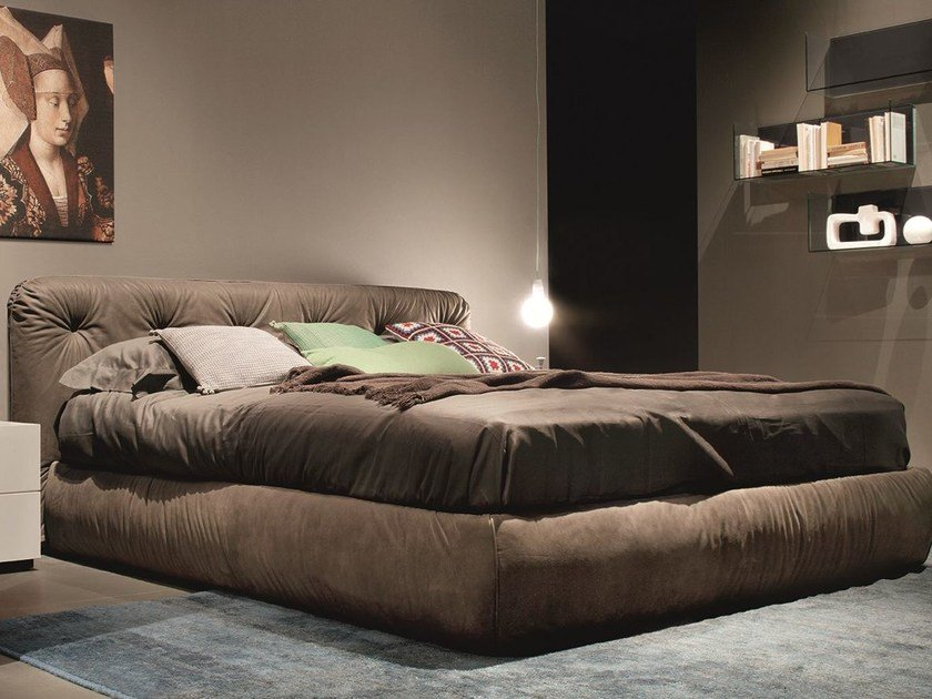 Leather double bed with tufted headboard VITTORIA by EmmeBi