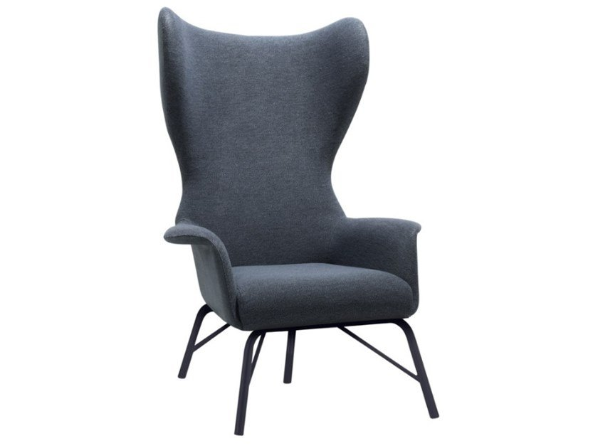 Bergere upholstered fabric armchair with metal base VIVA BE02 BASE 21 by New Life