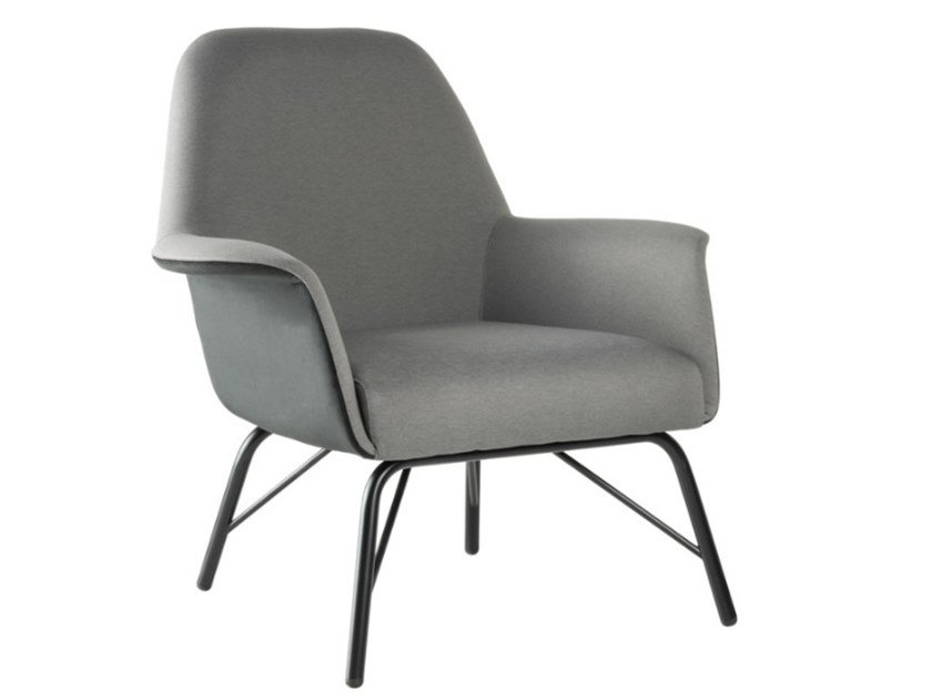 Upholstered fabric easy chair with armrests and metal base VIVA PL01 BASE 21 by New Life