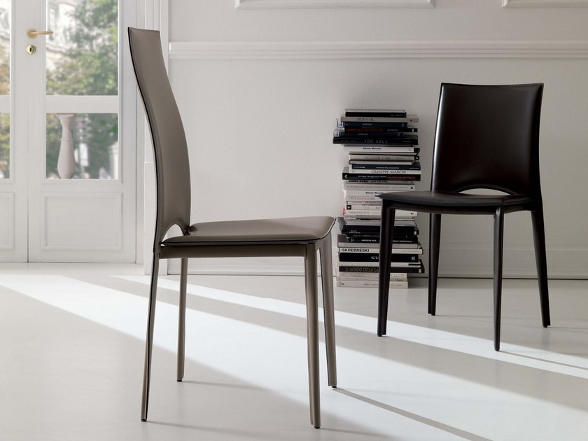 Tanned leather chair VIVALTA by Ozzio Italia