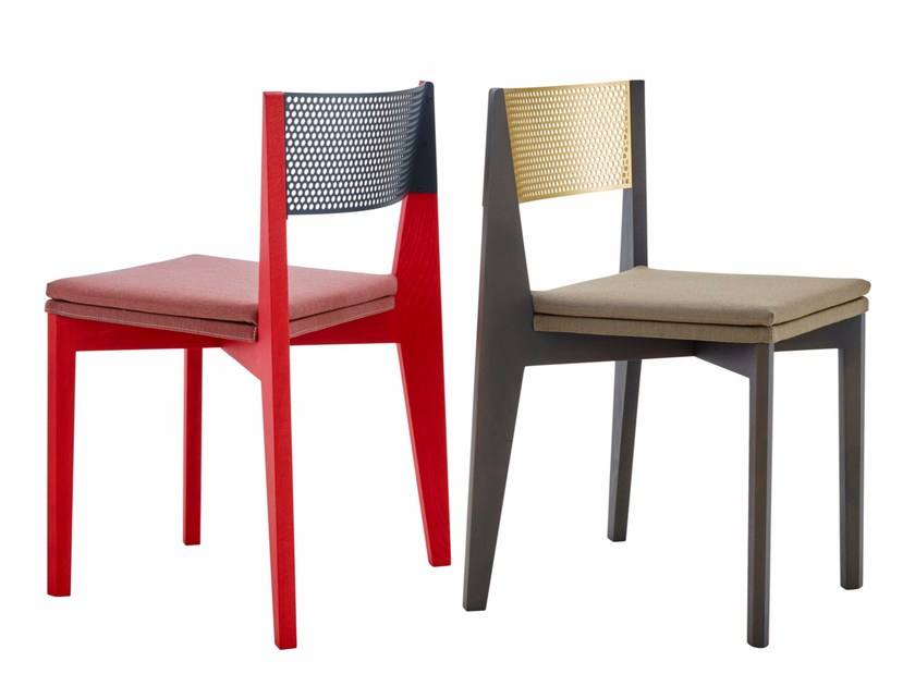 Upholstered Beech Chair With Removable Cover VIVIENNE By Ligne Roset