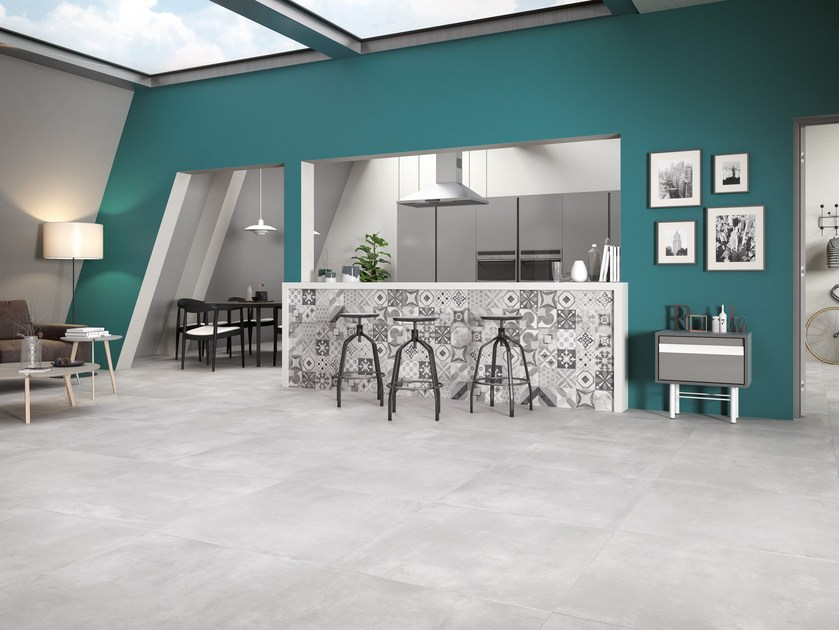 Porcelain stoneware wall/floor tiles with concrete effect VOLCANO by Ceramica Rondine