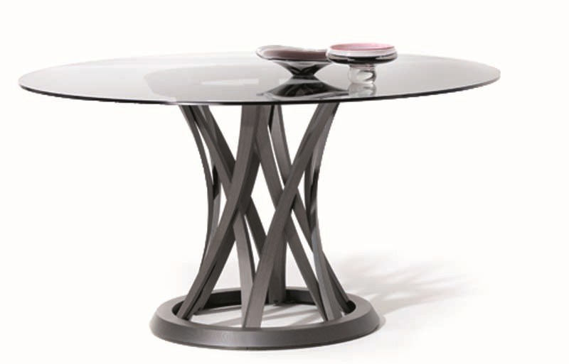 Round wood and glass table VOLCANO | Table by Potocco