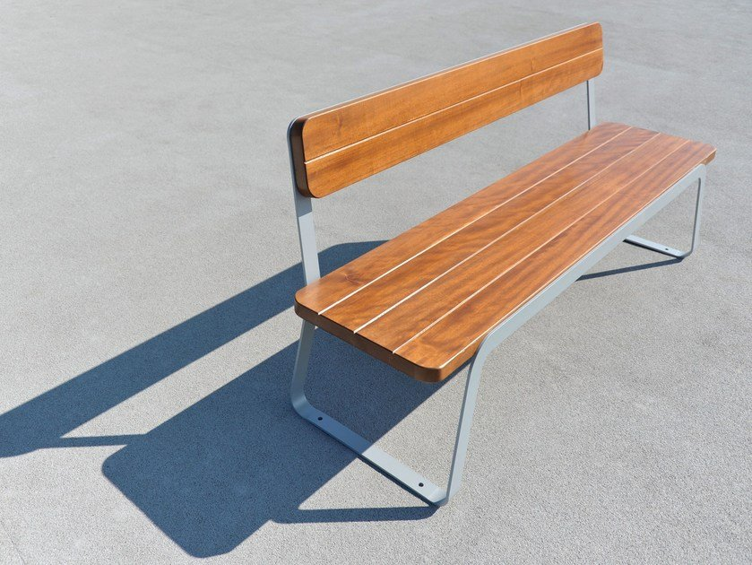 Steel and wood Bench VOLEE by LAB23 - Urban Smart Living