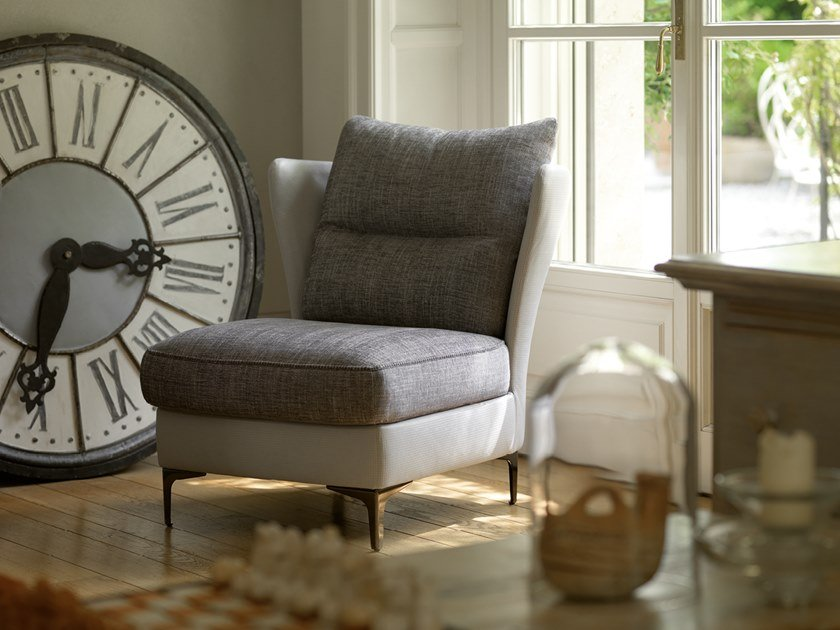 Leather and fabric armchair VOLTAIRE by Borzalino