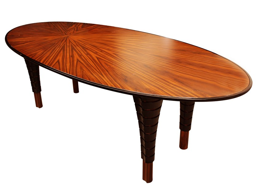 Lacquered oval wooden dining table VOLUTE | Oval table by Malabar