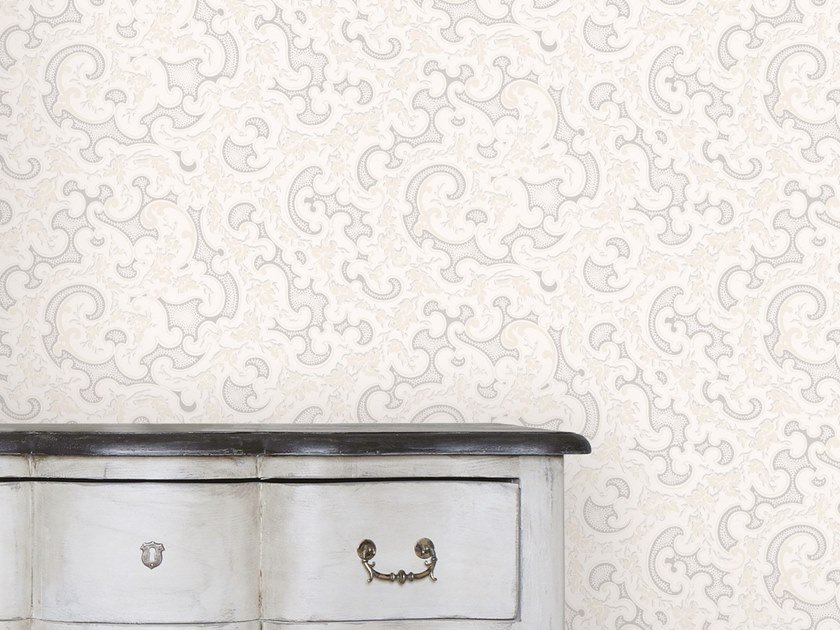 Damask non-woven paper wallpaper VOLUTES by Isidore Leroy