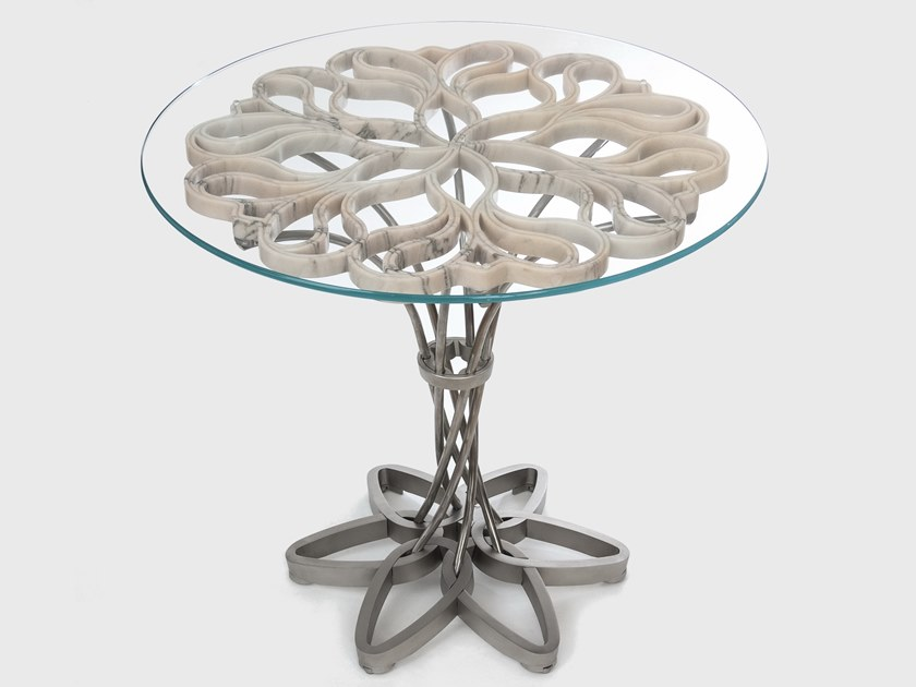 Marble, glass and Stainless Steel table VORTEX by MANEDA