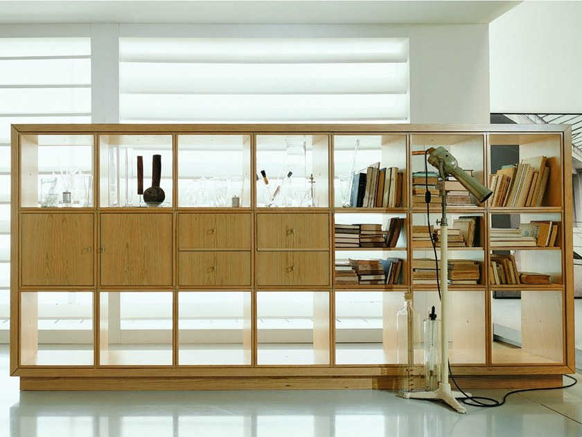 Freestanding double-sided sectional wooden bookcase W 1271 | Bookcase by Annibale Colombo