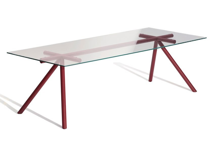 Rectangular glass and steel table W by Capdell