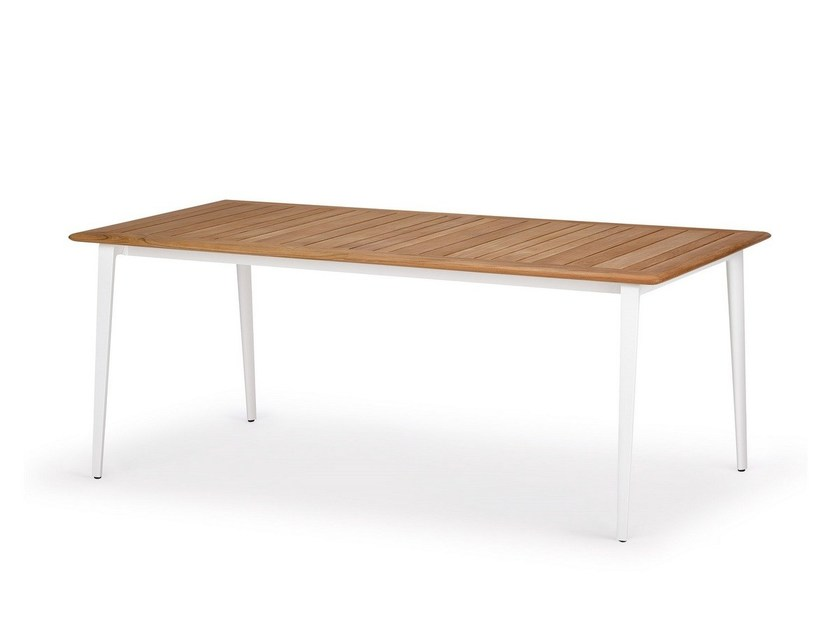 Rectangular aluminium and wood dining table WA | Teak table by DEDON