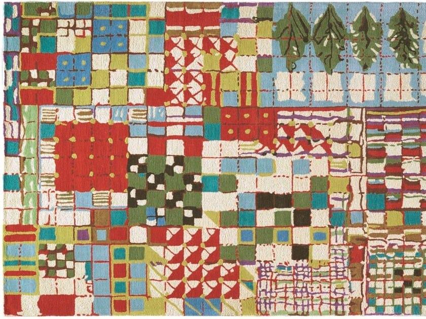 Patterned rectangular wool rug WALDEN by Toulemonde Bochart