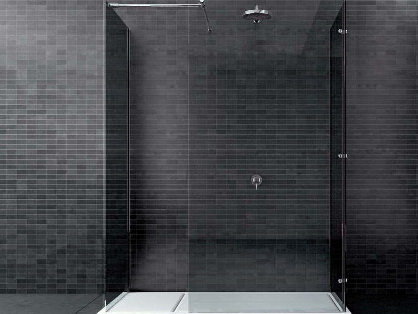 Rectangular glass shower cabin WALK-IN WK2L+WK1L by DISENIA