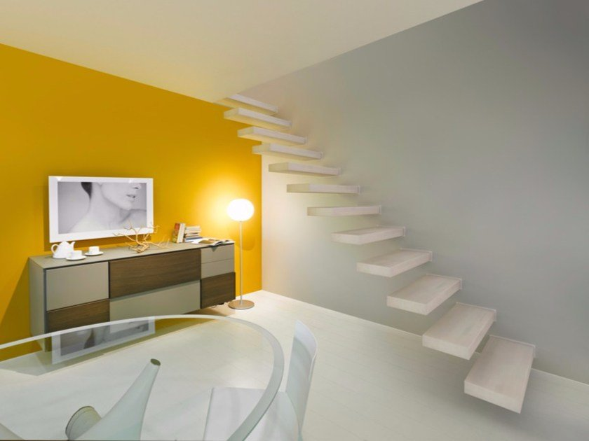 L-shaped U-shaped steel cantilevered staircase in kit form WALL by Fontanot