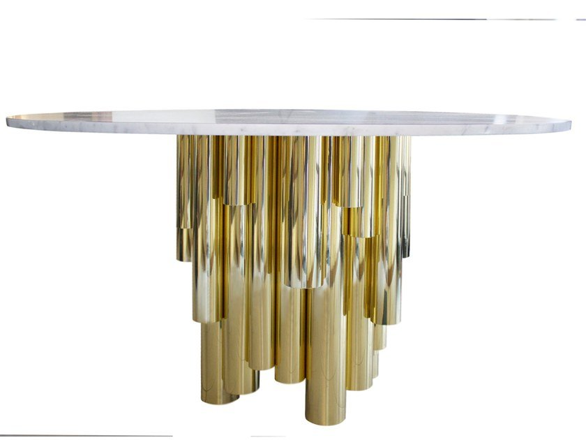 Round Carrara marble dining table WANDERLUST | Round table by Malabar